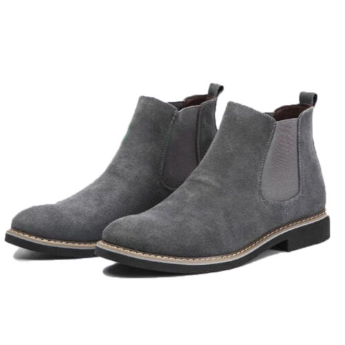 65b5389bc Casual Mens Flat Suede Ankle Slip On Ankle Boots Smart Desert Chelsea Shoes