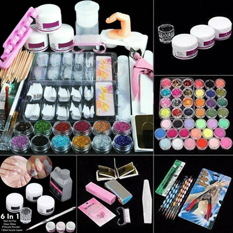 UK - Pro Nail Kit Acrylic Powder Glitter Nail Art Manicure Tool Tips Brush Set ~