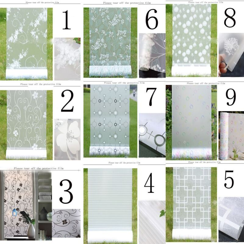 New Frosted Cover Glass Window Door Flower Sticker Film