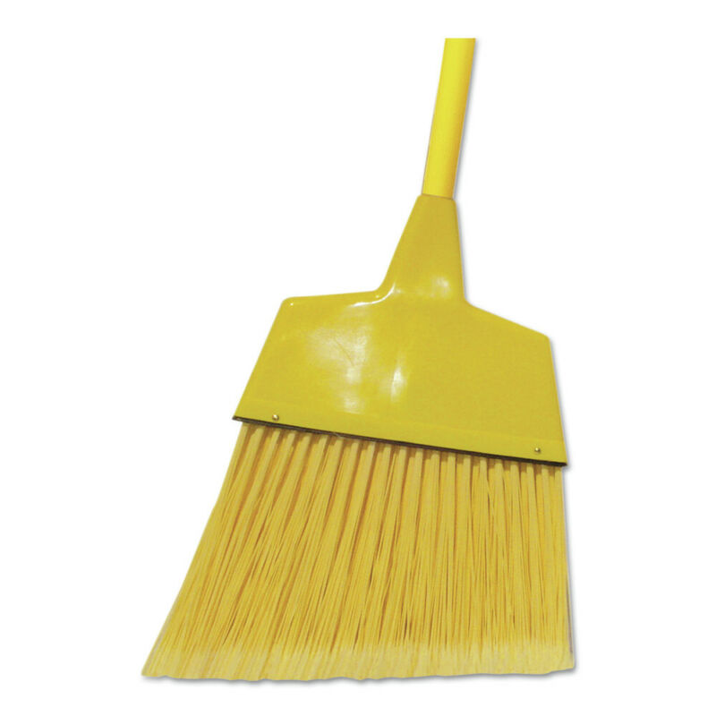 Boardwalk BRMAXIL 12-Pc. Poly Angled Lobby Brooms w/ 55 in. Handle - Yellow New