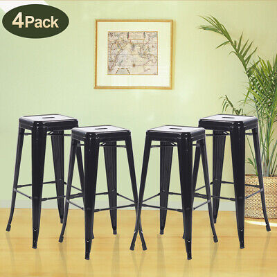 30 Inches Counter Bar Stools Industrial Set of 4 Farmhouse Metal Chairs -