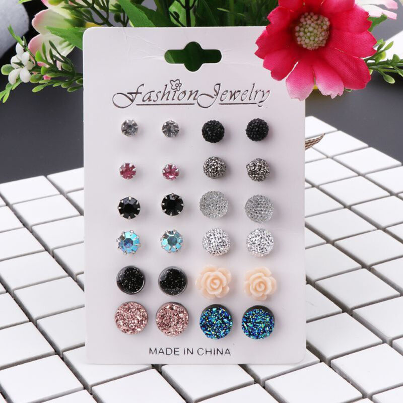 12 Pairs/set Assorted Crystals Druzy Stone Resin Stone Round