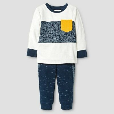 (Boys Shell White Shirt & Blue Pants Outfit Set Genuine Kids OshKosh - Size 6, 7 )