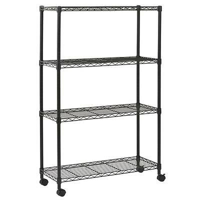 New Black Commercial 4 Tier Shelf Adjustable Steel Wire Metal Shelving Rack