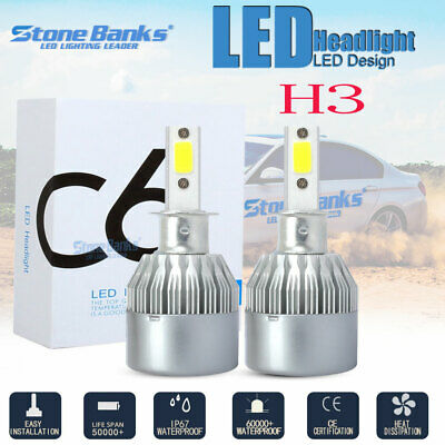 2X 100W 20000LM H3 LED Headlights Conversion Kit Hi-Lo Beam Fog Light HID
