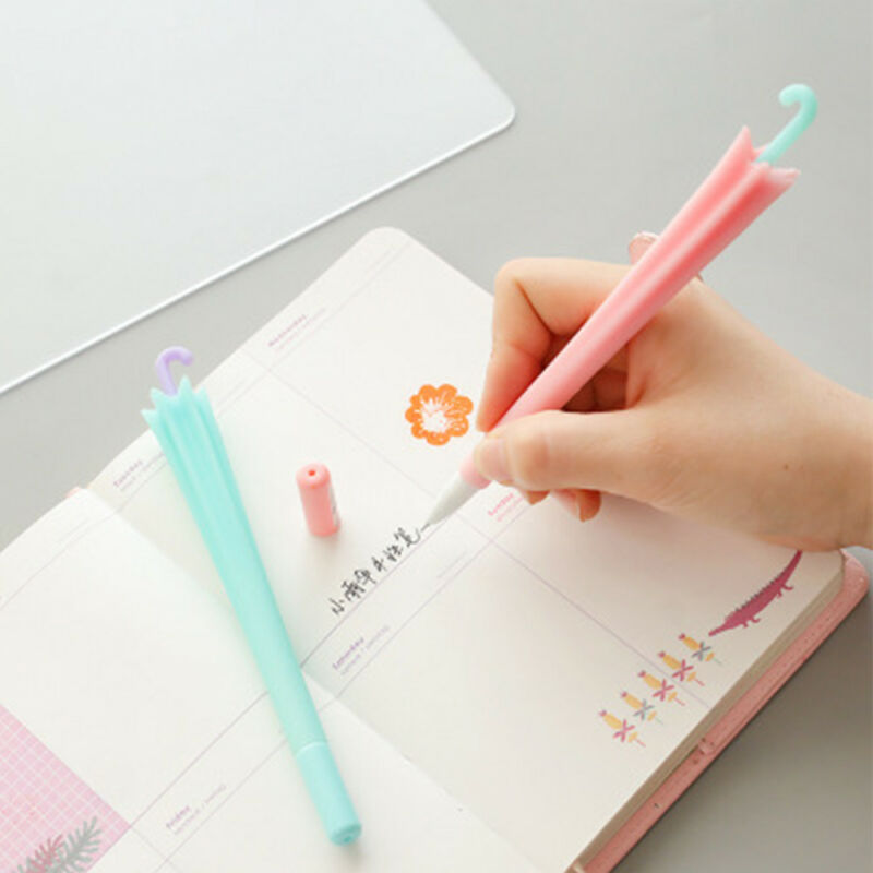19aef3a2ebcf 2Pcs Cute Umbrella Shape Black Ink Gel Pen Stationery School Office ...