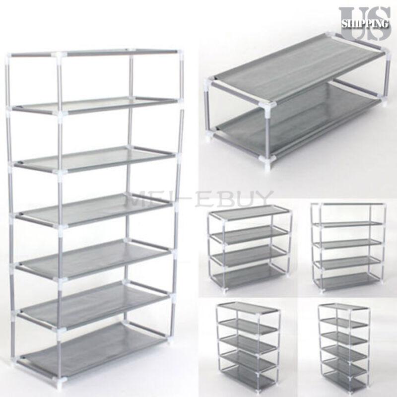 Metal Shoes Rack Stand Storage Organizer Fabric Shelf Holder Stackable Closet US