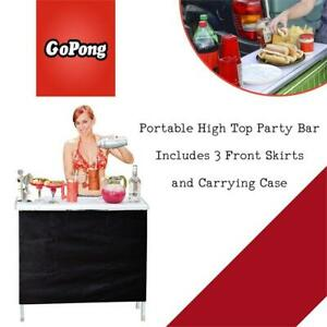 GoPong Portable High Top Party Bar, Includes 3 Front Skirts and Carrying Case Condtion: Lightly used, Little scrachet...