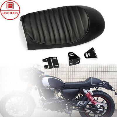 Black Motor Universal Flat Tracker Cushion Seat Retro Cafe Racer Brat Saddle US