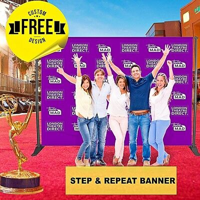 photo booth backdrop stand + Step and Repeat Flex  Banner 10' X 6' ft 6 GUEST  - Photo Booth Backdrop Stand