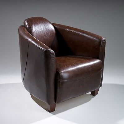 Rocket Jet Fighter Design Top Grain Leather Club Chair in Distressed Brown