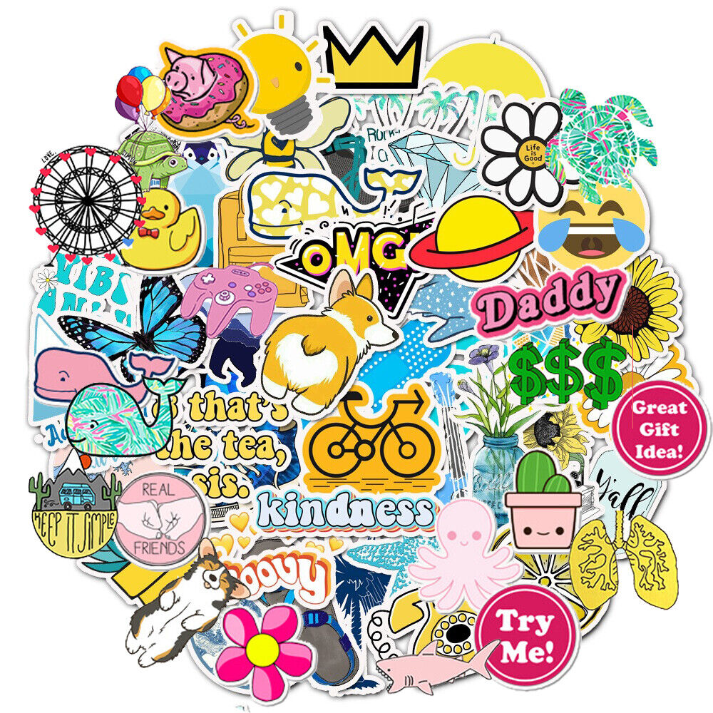 Home Decoration - 50Pcs Cute Laptop Stickers for Hydro Flask VSCO Girl Sticker Skateboard Suitcase