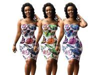 Ladies tropical floral print boob tube dress
