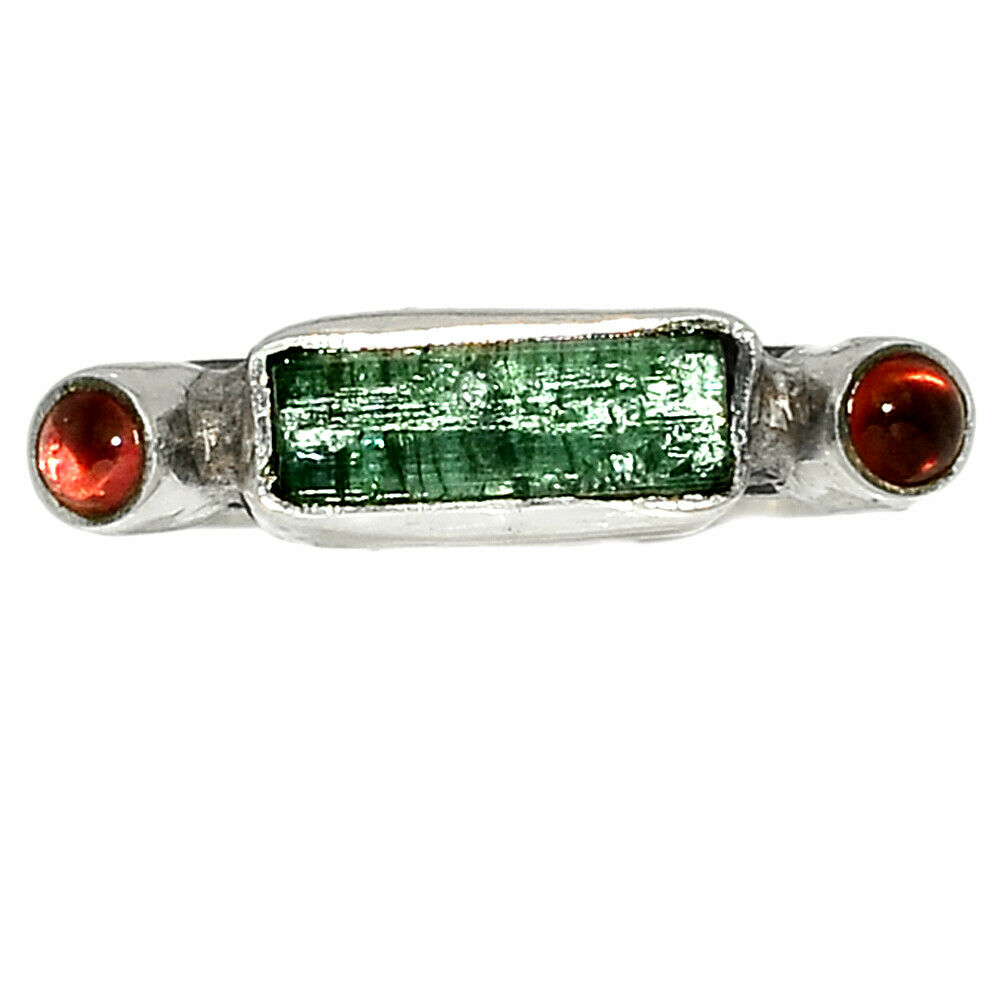 Green Tourmaline Point Garnet 925 Sterling Silver Ring Jewelry S.7 BR40584 - $11.99