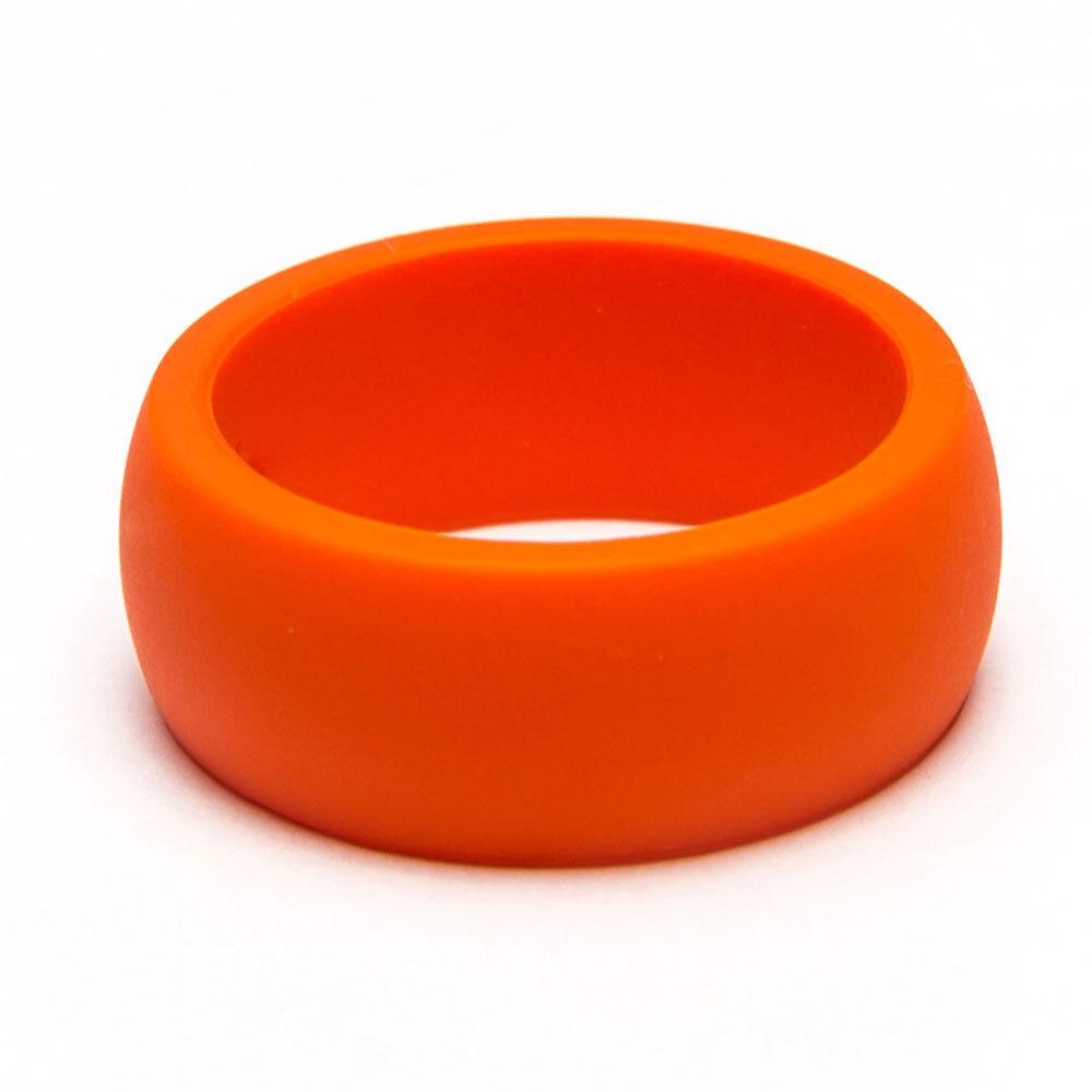orange silicone wedding band ring for men