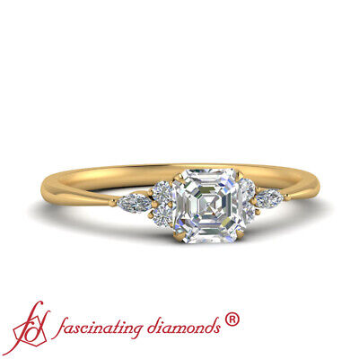 3/4 Carat Asscher Cut Diamond Engagement Ring With Round And Marquise Accents