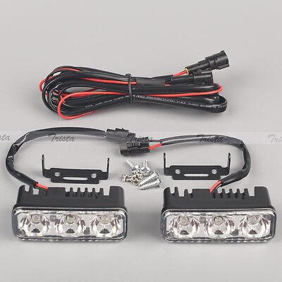 2x 3 LED White High Power Car DRL Daytime Running Light Fog Daylight Lamp 12V
