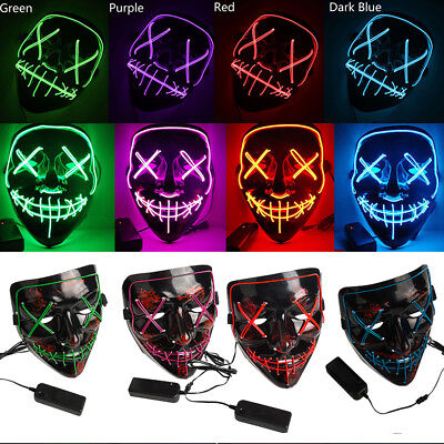 Halloween Scary Mask Cosplay Led Costume Mask EL Wire Light Up The Purge Movie (Halloween Costume The Purge)
