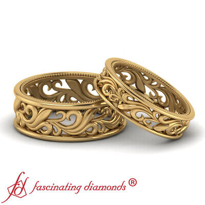 Antique Filigree Wedding Bands - His And Her Antique Filigree Design Milgrain Wedding Bands In 18K Yellow Gold