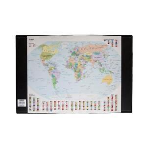 Idena 14010 - Schreibunterlage Weltkarte, schwarz 68x44 cm NEU