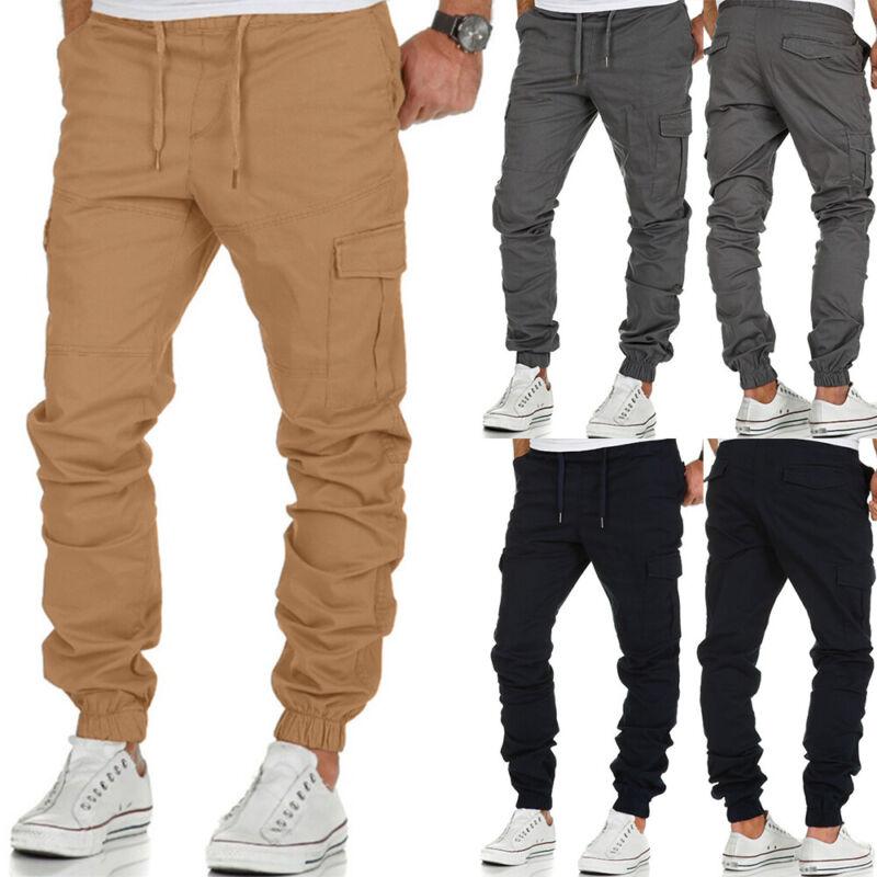 ❤️ Mens Casual Joggers Cargo Pants Sweatpants Slim Fit Combat Sport Trousers Us