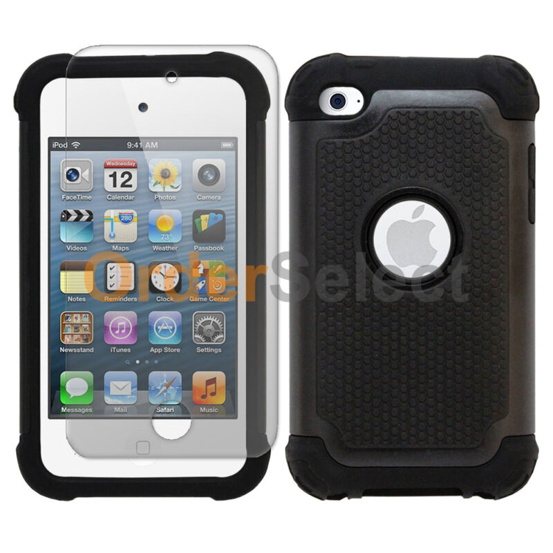 NEW Hybrid Rubber Case+LCD HD Screen Protector for Apple iPod Touch 4 4th Black