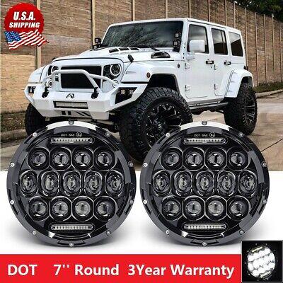 7'' Round LED Headlights For Jeep Wrangler Custom Unlimited Sport JK JL TJ LJ CJ (2006 Jeep Wrangler Led)