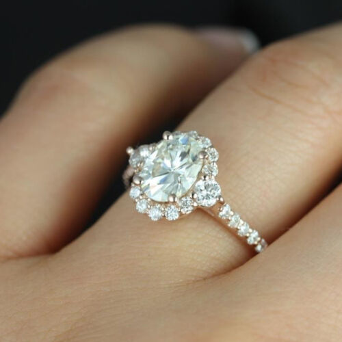 GIA Oval and Round Cut Vintage Design Engagement Ring 18k Rose Gold 3.01 CT