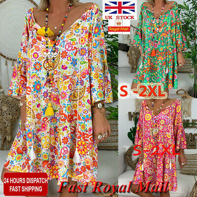 Women BOHO Summer Beach Dress Ladies Plus Size Sun Tops Midi Dresses UK Sz 10-18