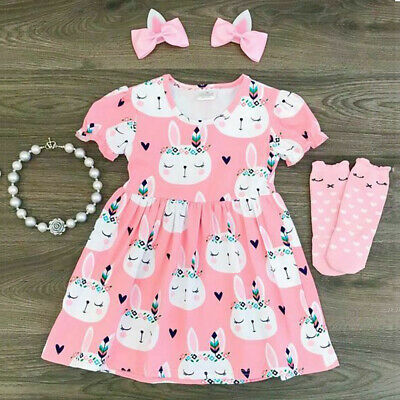 Girls Sun Dress (US Toddler Girl Princess Sundress Bunny Short Sleeve Dress Easter Outfit)