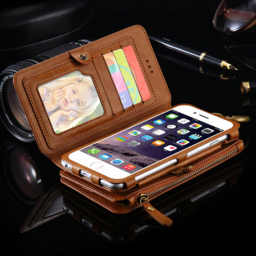 $17.85 - Luxury Genuine Leather Flip Wallet Phone Case Cover for Samsung Galaxy S8+S7 S6