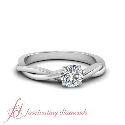 Half Carat Round Cut Diamond Delicate Braided SI1 Engagement Ring For Women GIA