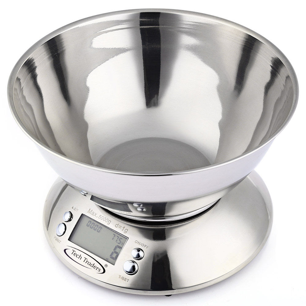 5kg Electronic Digital Stainless Steel Mixing Bowl Food Kitchen Scales
