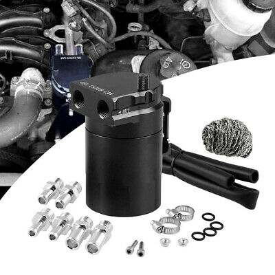 Oil Catch Can Kit Reservoir Tank Engine Black Polish Baffled Universal Aluminum