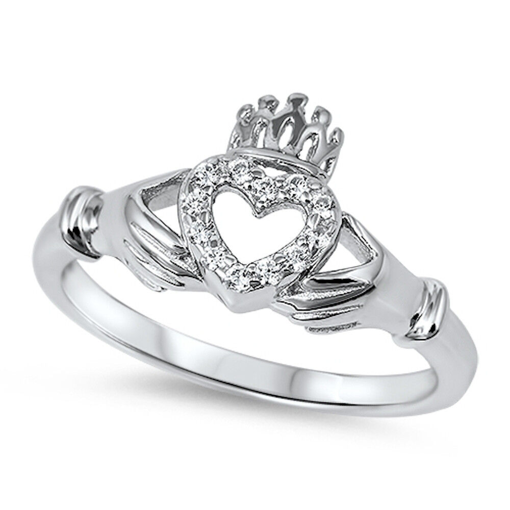 cz irish claddagh heart 925 sterling silver ring sizes 4. Black Bedroom Furniture Sets. Home Design Ideas