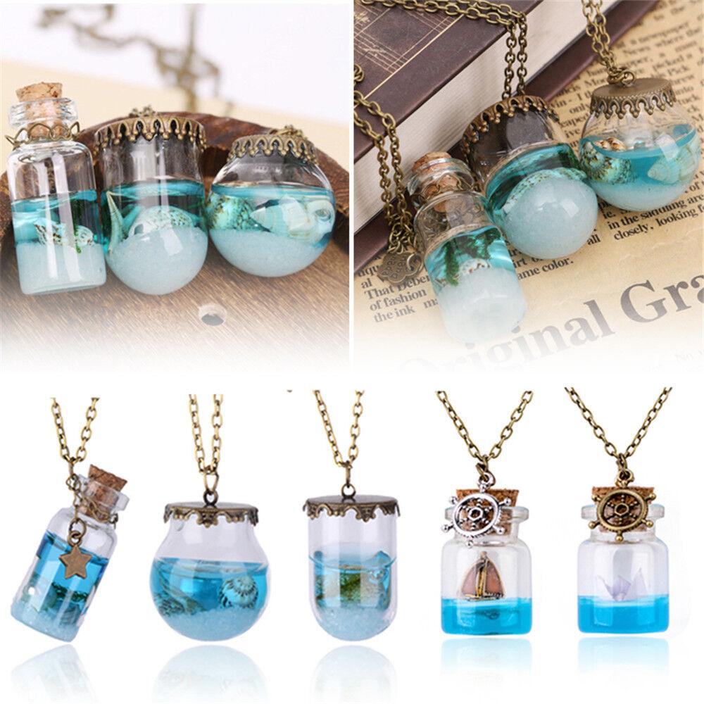 Necklace Glass Bottle Necklace Sea Ocean Pendant Wishing Fashion Blue Jewelry