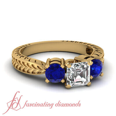 1.50 Ct Three Stone Asscher Cut Antique Diamond & Sapphire Engagement Ring GIA