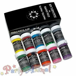 Sugarflair-10-NEW-2013-COLOURS-Pastel-Edible-Food-Paste-Gel-Sugarcraft-Paint