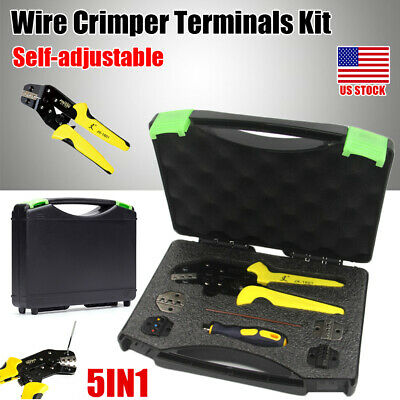 Professional Insulated Wire Terminal Connector Ratcheting Crimper Tool 24-14 Awg