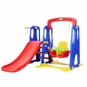 Keezi Kids 3-in-1 Slide Swing with Basketball Hoop Toddler Outdoor Indoor Play