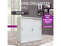 Office Cabinet with Sliding Doors Metal 90x40x90 cm Grey-245965