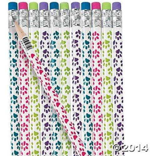 72 - Wooden Paw Print Pencils - Birthday Party Dog Cat School Teacher Bag