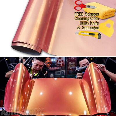 Super Gloss Metallic Peach Color - Orange + Pink Vinyl Film Wrap Air Bubble Free](Pink Orange Color)
