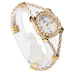 Fashion Women Lady Steel Wire Crystal Quartz Bracelet Bangle Wrist Watch White