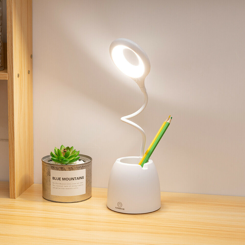 Dimmable LED Desk Lamp Table Beside Reading Light Touch Sensor USB Rechargeable