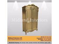 NEW Almaty Armoire French Wardrobe - Gold - Luxury Asian French Italian Leaf Gothic Antique Ornate