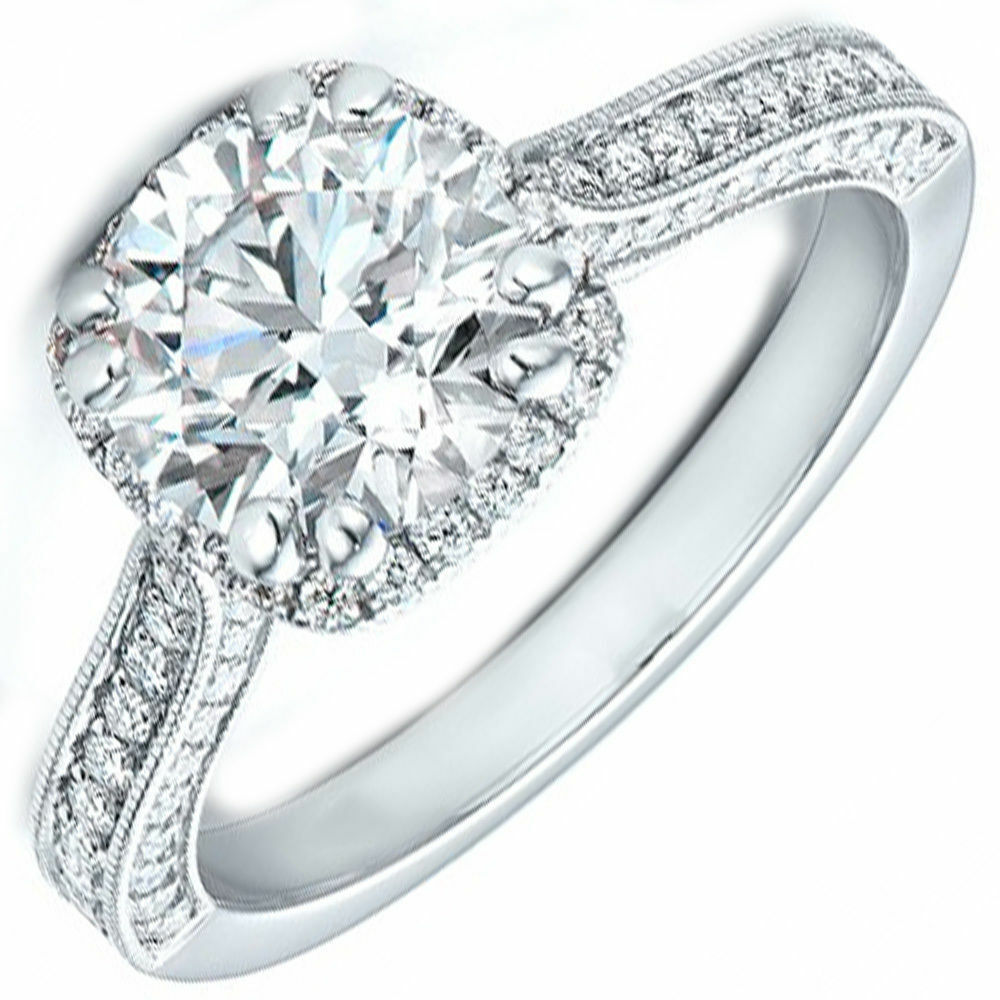 GIA Certified Halo Round Cut Diamond Engagement Ring 18k Gold 2.47 Carat total