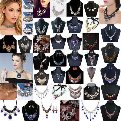 Womens Crystal Pearl Necklace Bib Choker Chunky Statement Pendant Chain Jewelry Crystal Bib Statement Necklace