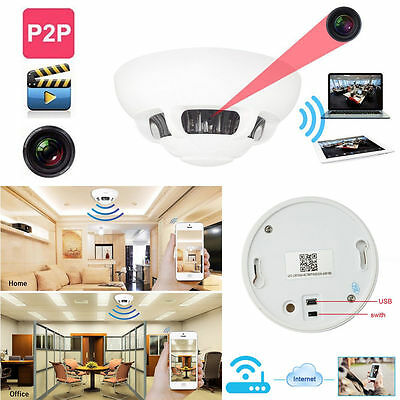 wifi hd 1080p spy ip camera dvr nanny cam smoke detector hidden motion detection ebay. Black Bedroom Furniture Sets. Home Design Ideas