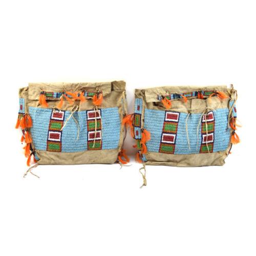 """Pair of Lakota Beaded Teepee Bags, c. 1890s, 14"""" x 17"""" Each"""